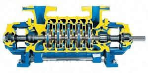 Interior de uma bomba centrifuga multicelular
